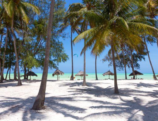Bembeyaz kumsalı, palmiyeleri ve turkuaz rengi okyanusuyla Zamzibar, Tanzanya