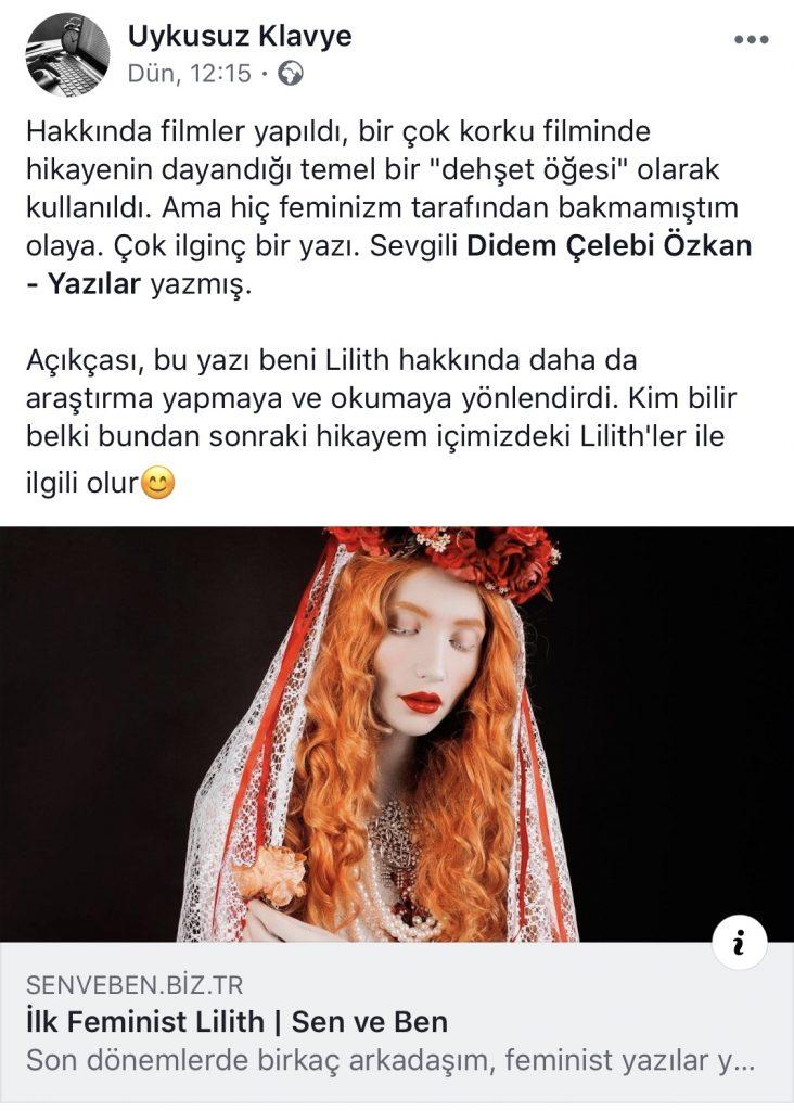 İlk Feminist Lilith | Facebook Yorumları | 27