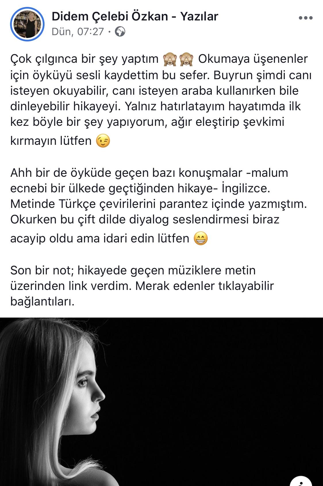 Umarım Bu Gece Öldürülmem   Didem Çelebi Özkan - Yazılar Facebook Tanıtım Metni