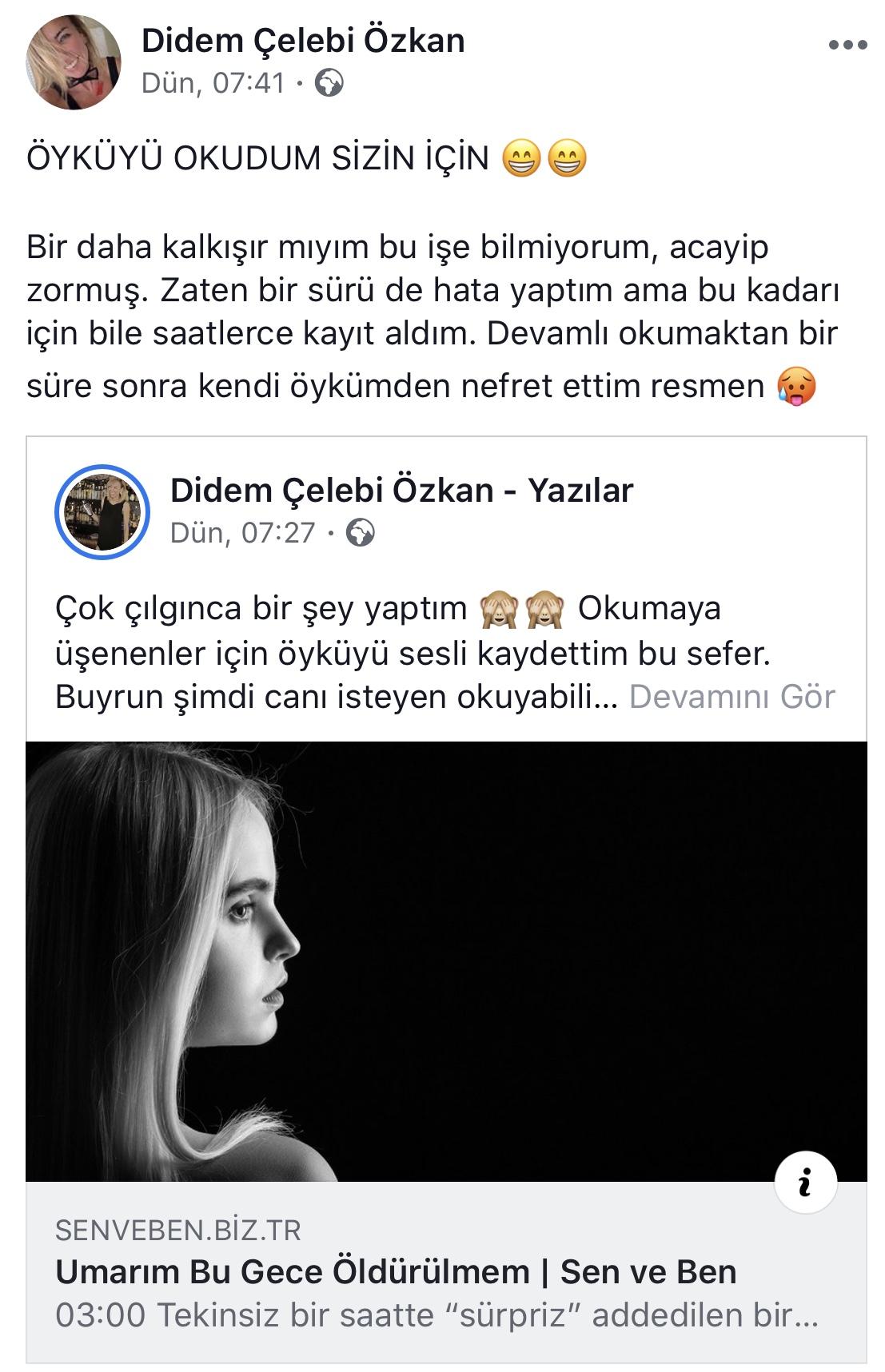 Umarım Bu Gece Öldürülmem   Didem Çelebi Özkan Facebook Tanıtım Metni
