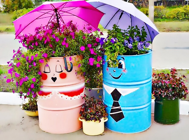 Bahçe ve Balkon için DIY Fikirler: Varil Saksı