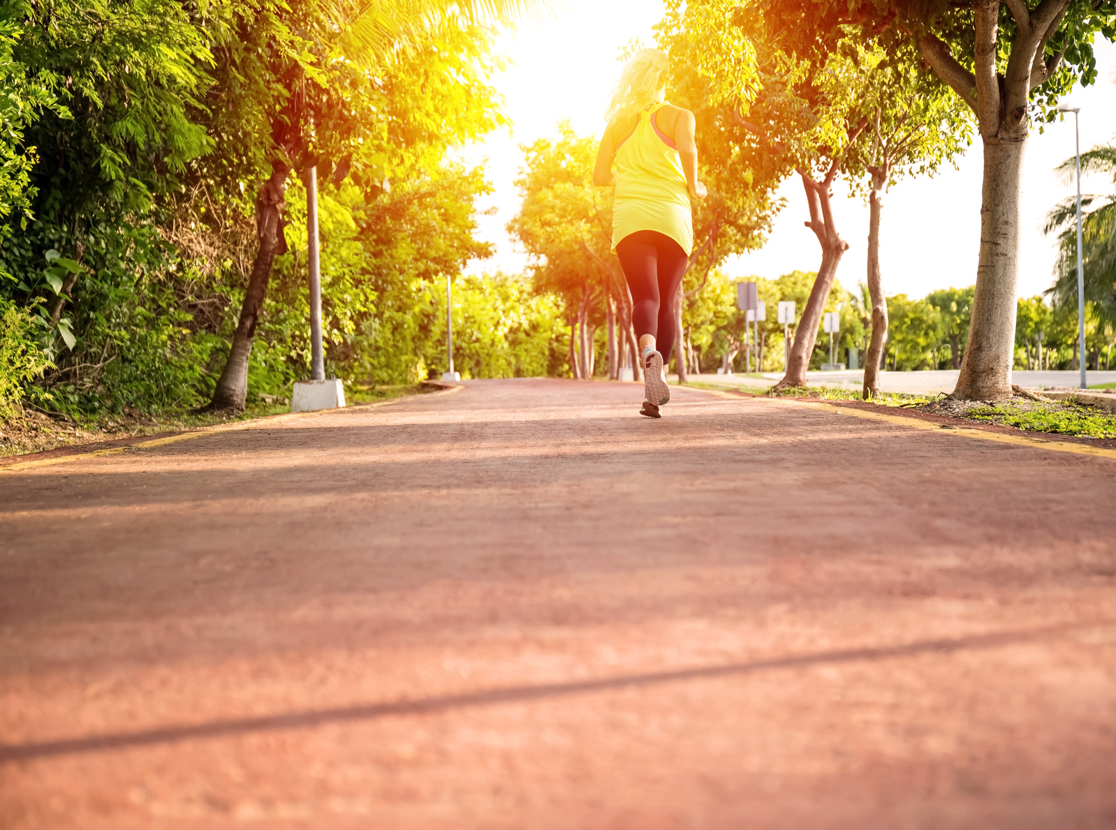 Fitness woman training and jogging in summer park. Healthy lifestyle and sport concept
