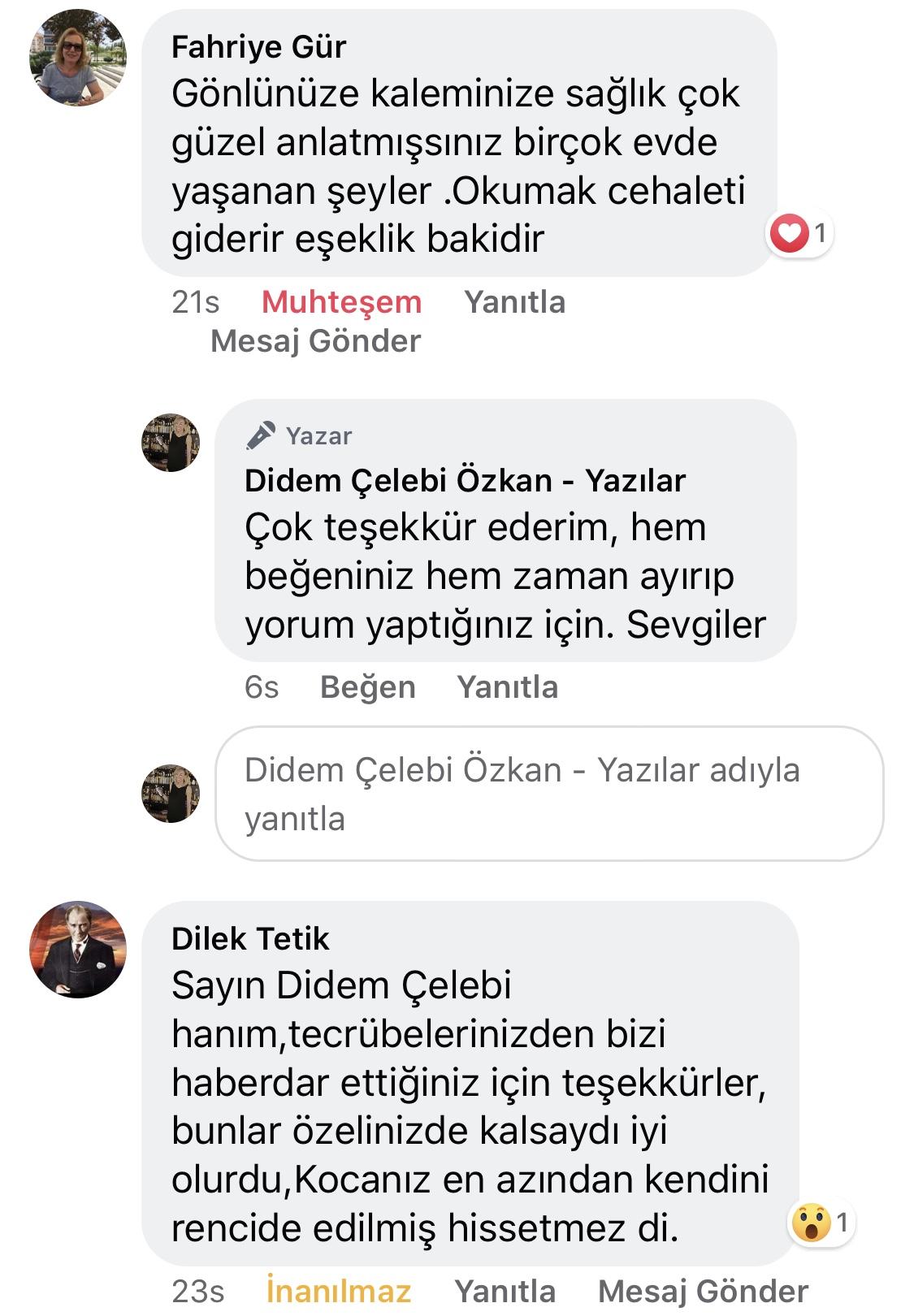 Koca! | Didem Çelebi Özkan Yazılar Facebook Sayfası Yorumları | 13