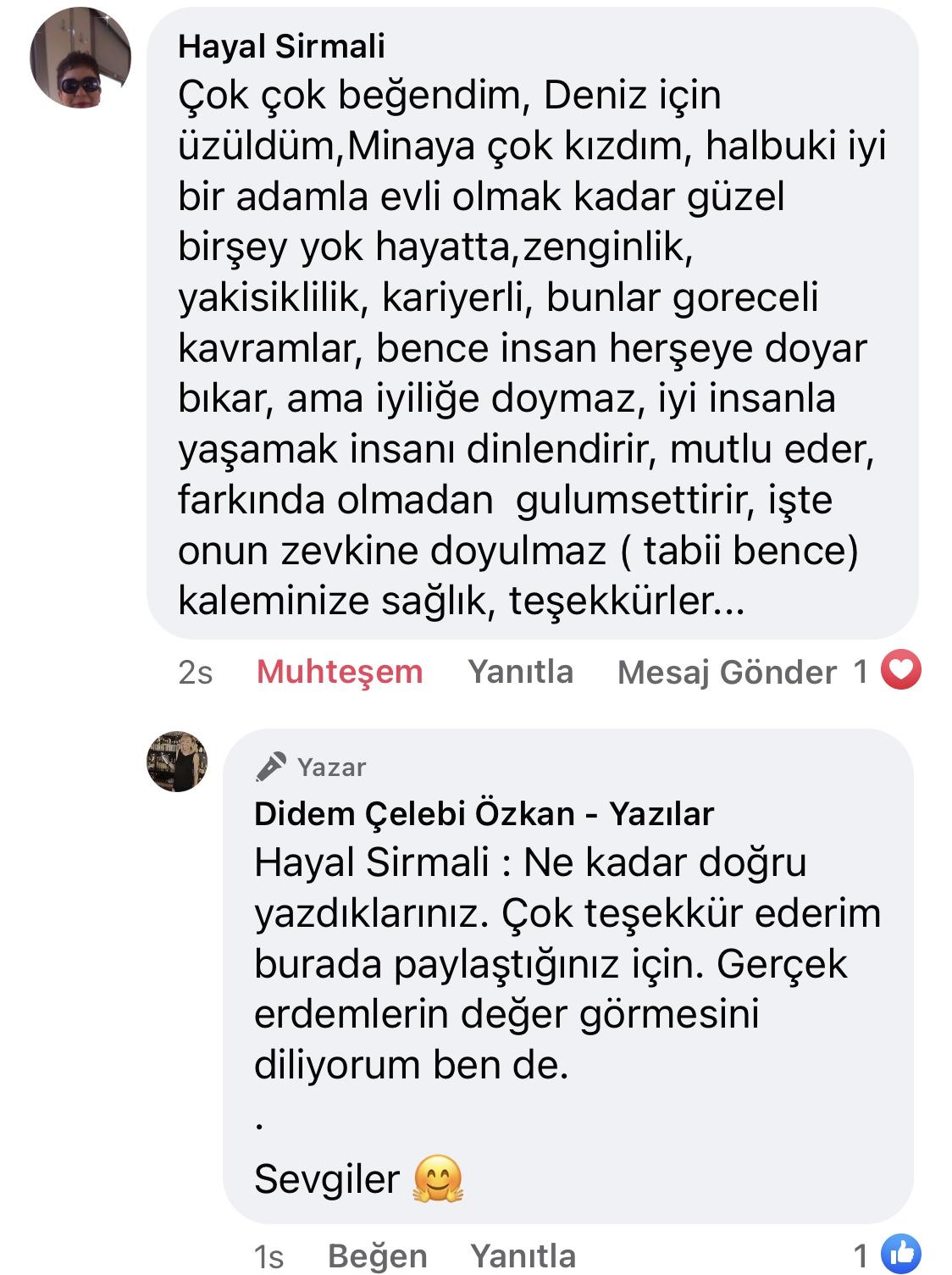 Hezeyan | Didem Çelebi Özkan Yazılar Facebook Sayfası Yorumları | 03
