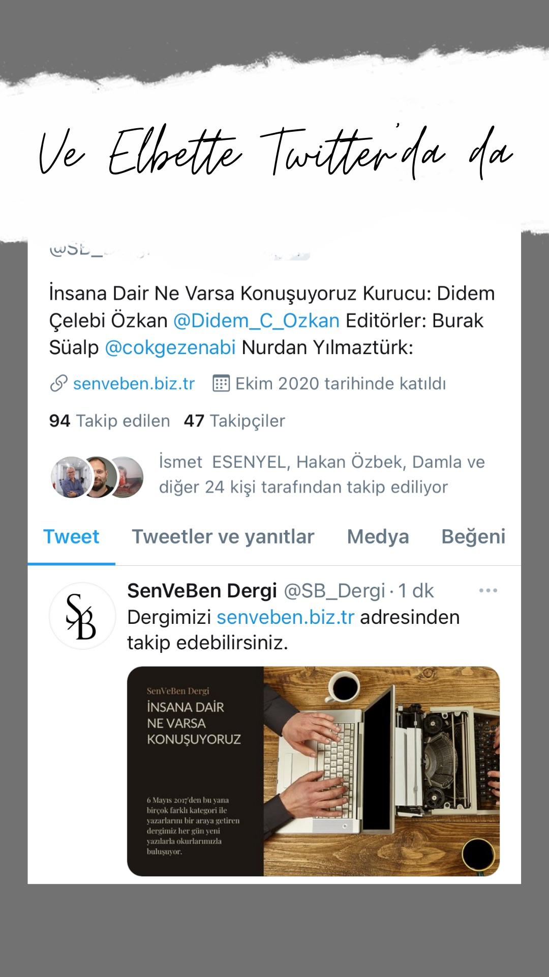 SenVeBen Twitter Hesabı Tanıtım Görseli | 1